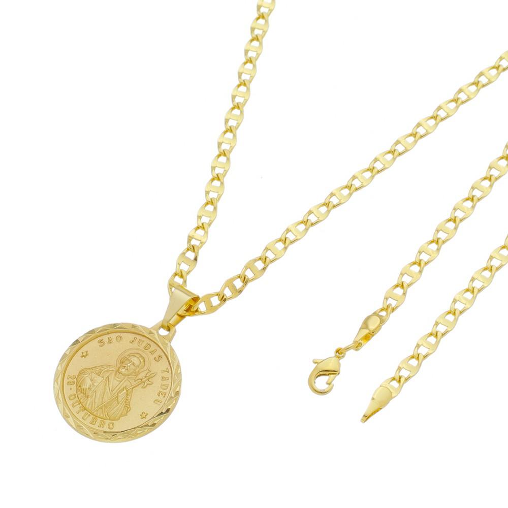 Medalha São Judas com Corrente Mod.Italiana Folheada a Ouro