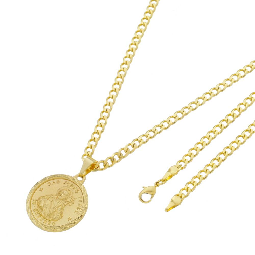 Medalha São Judas Tadeu com Corrente Grumet 5mm Folheada a Ouro