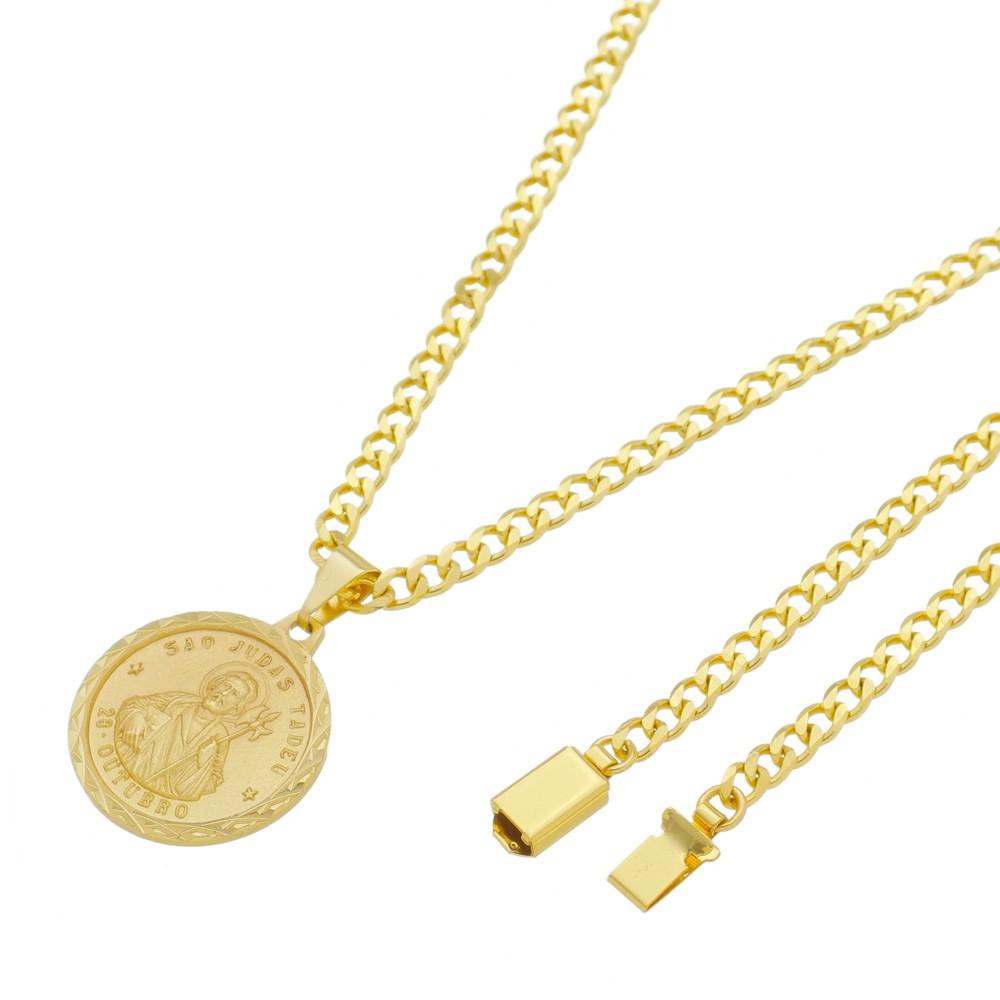 Medalha São Judas Tadeu com Corrente Grumet 5mm Gaveta Folheada a Ouro