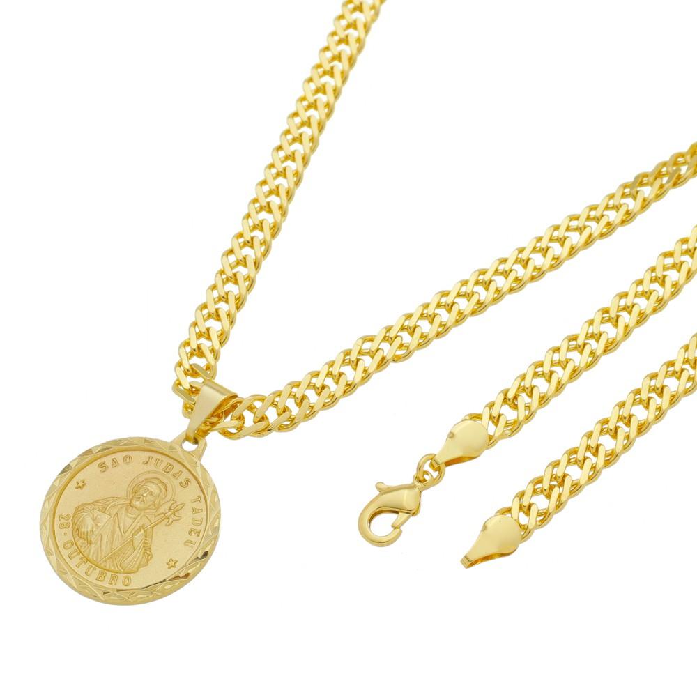 Medalha São Judas Tadeu com Corrente Grumet Dupla Grossa Folheada a Ouro