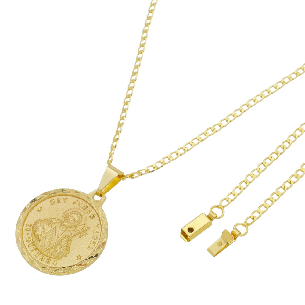 Medalha São Judas Tadeu com Corrente Grumet Gaveta