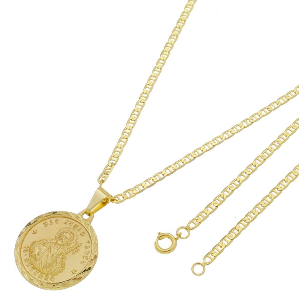 Medalha São Judas Tadeu com Corrente Italiana Fina Folheada a Ouro