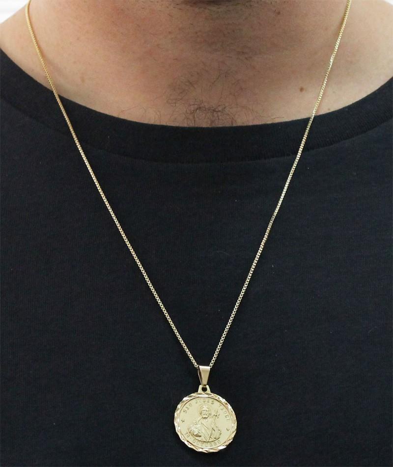 Medalha São Judas Tadeu com Corrente Veneziana Folheada a Ouro
