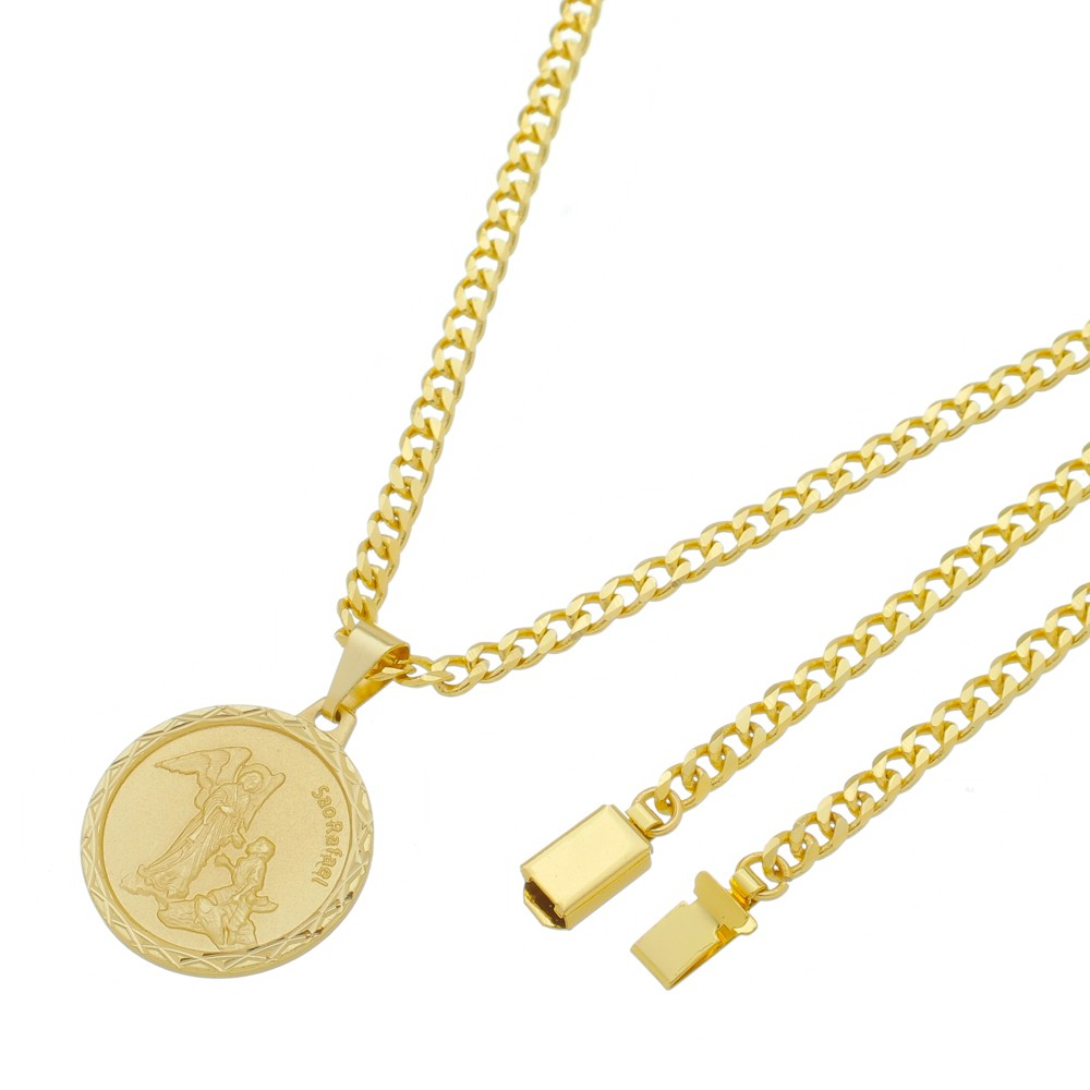 Medalha São Rafael com Corrente Grumet 5mm Gaveta