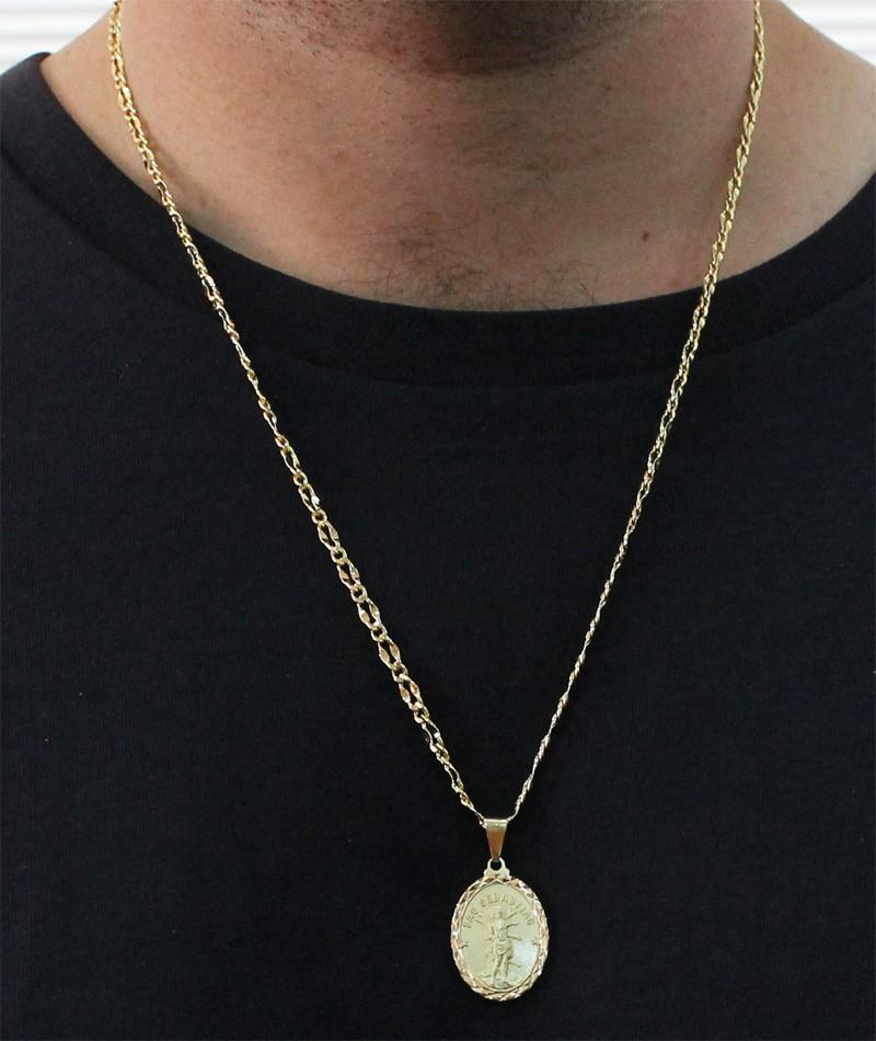 Medalha São Sebastião com Corrente Batida 1x1 Folheada a Ouro