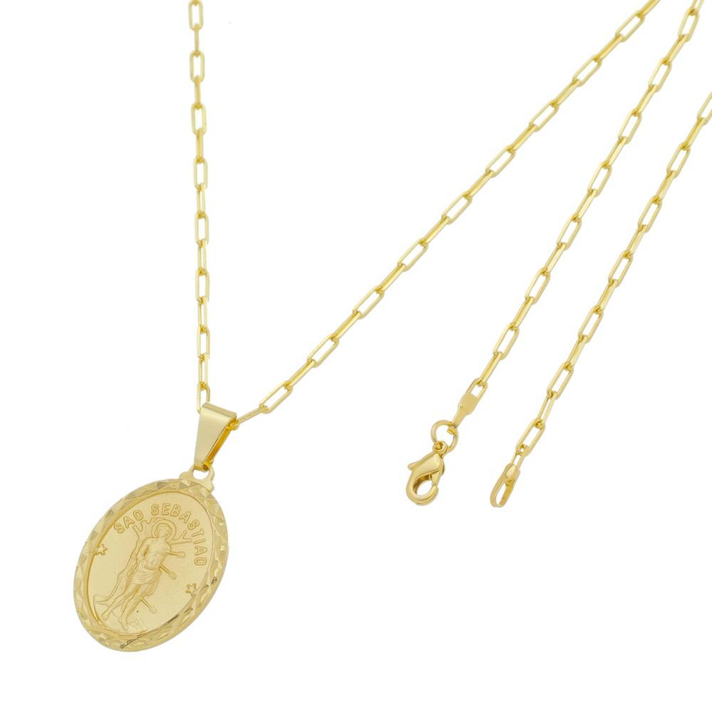 Medalha São Sebastião com Corrente Francesa Longa Folheada a Ouro