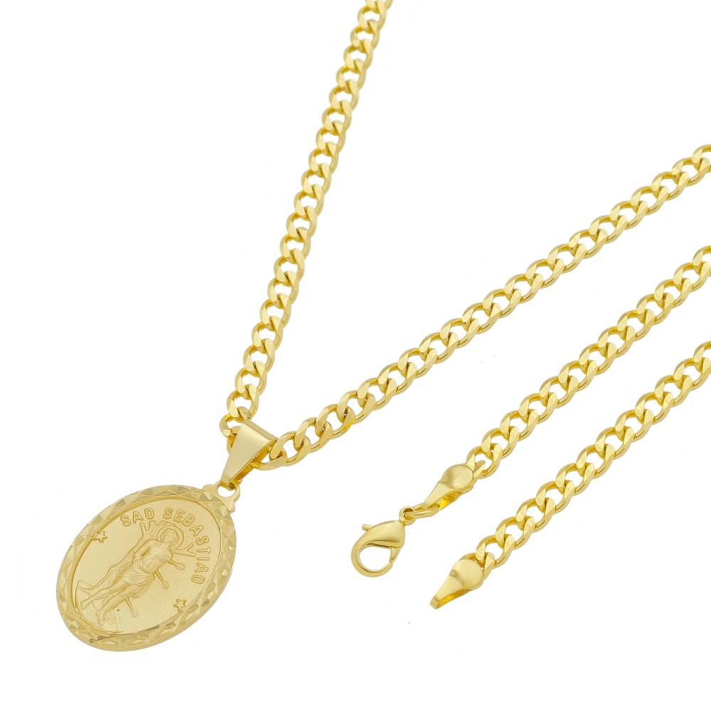 Medalha São Sebastião com Corrente Grumet 5mm Folheada a Ouro