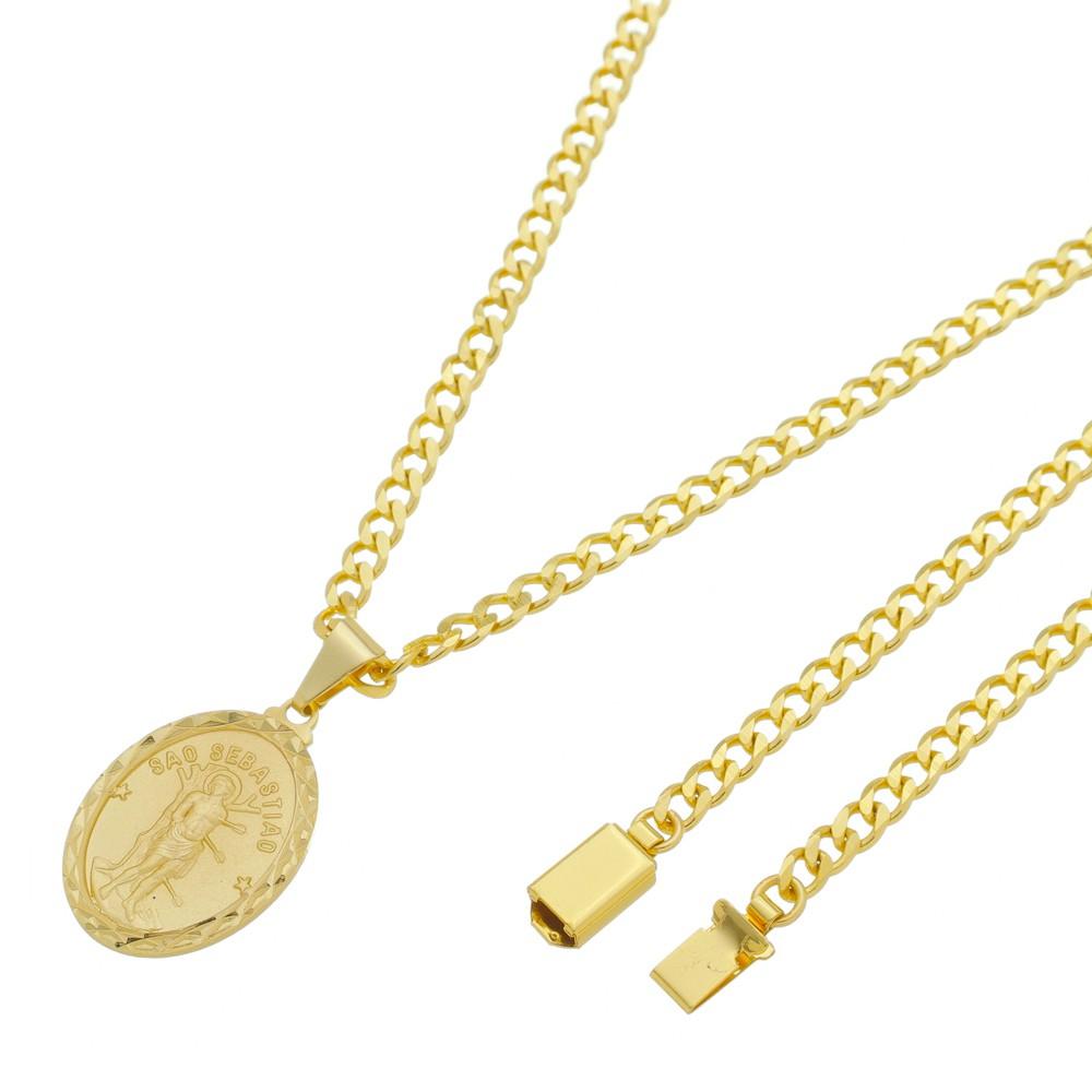 Medalha São Sebastião com Corrente Grumet 5mm Gaveta Folheada a Ouro