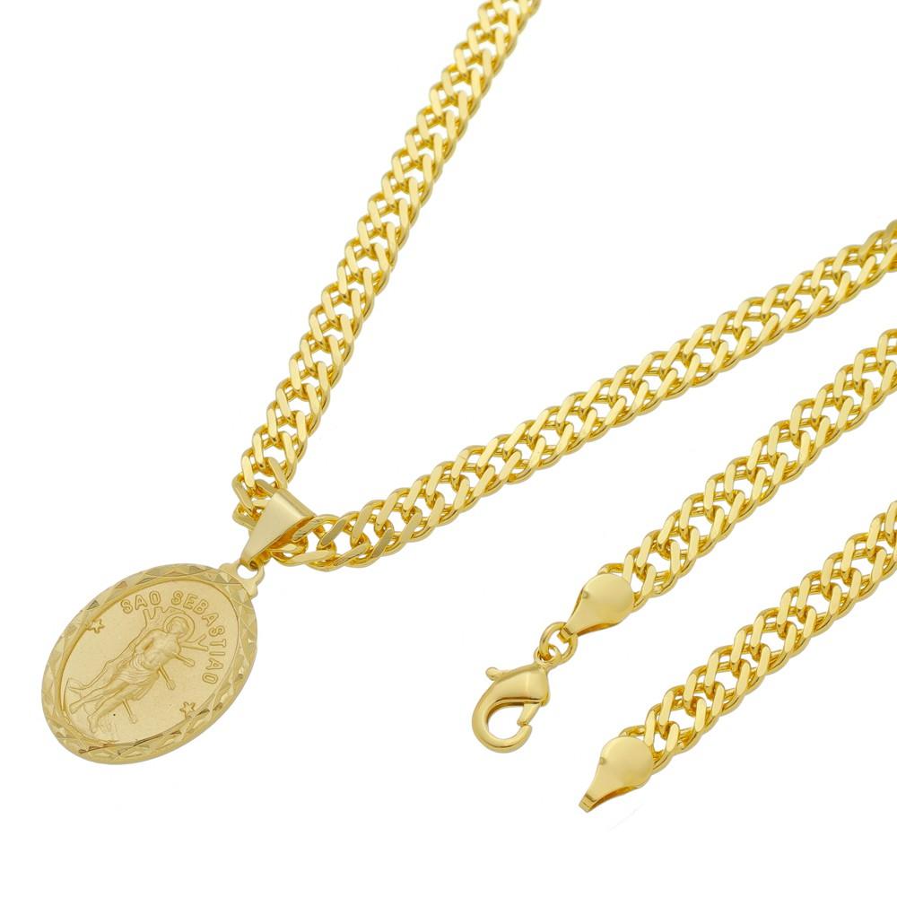 Medalha São Sebastião com Corrente Grumet Dupla Grossa Folheada a Ouro