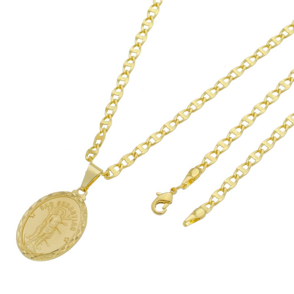 Medalha São Sebastião com Corrente Mod. Italiana Folheada a Ouro