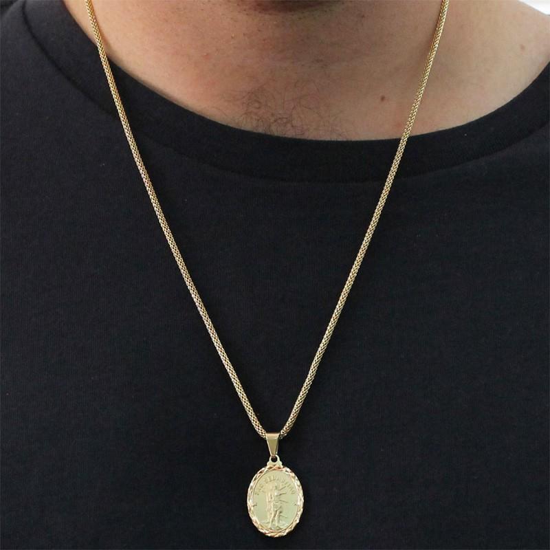Medalha São Sebastião com Corrente Rede Folheada a Ouro