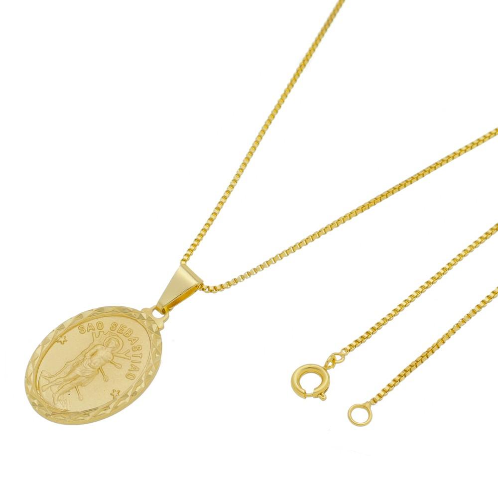 Medalha São Sebastião com Corrente Veneziana Folheada a Ouro