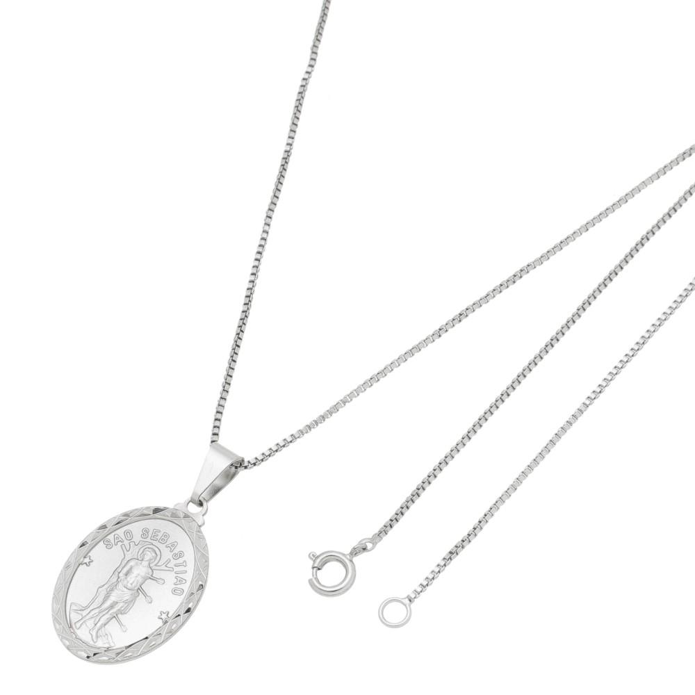 Medalha São Sebastião Com Corrente Veneziana Folheado a Ródio Branco/Prateado