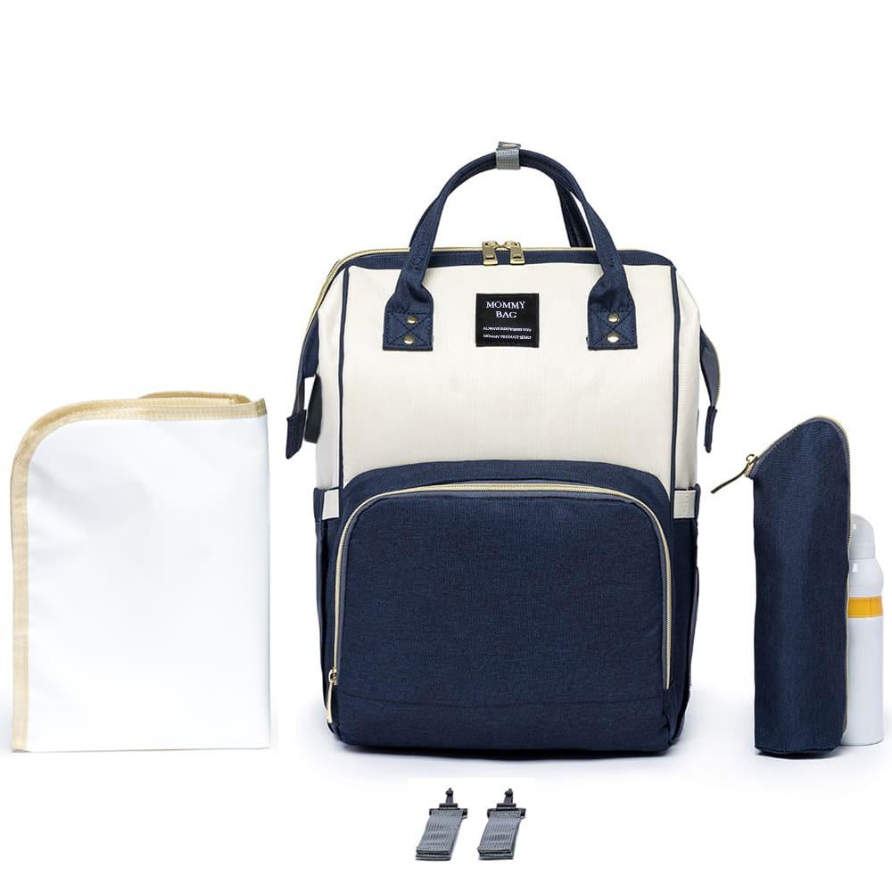 Mochila Bolsa Maternidade Mommy Bag Original Azul Marinho/OffWhite Moda Classic Baby Com USB, Trocador e Porta Mamadeira