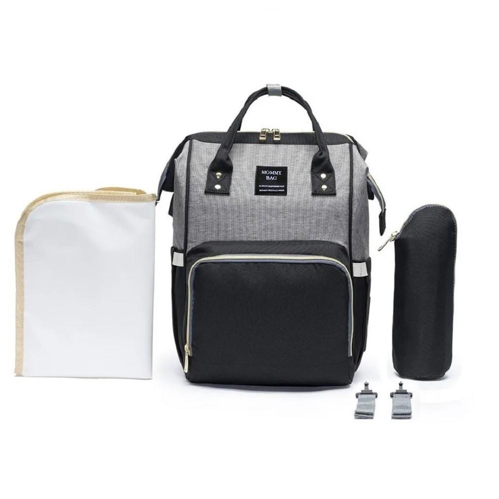 Mochila Bolsa Maternidade Mommy Bag Original Cinza com Preto Moda Classic Baby Com USB, Trocador e Porta Mamadeira