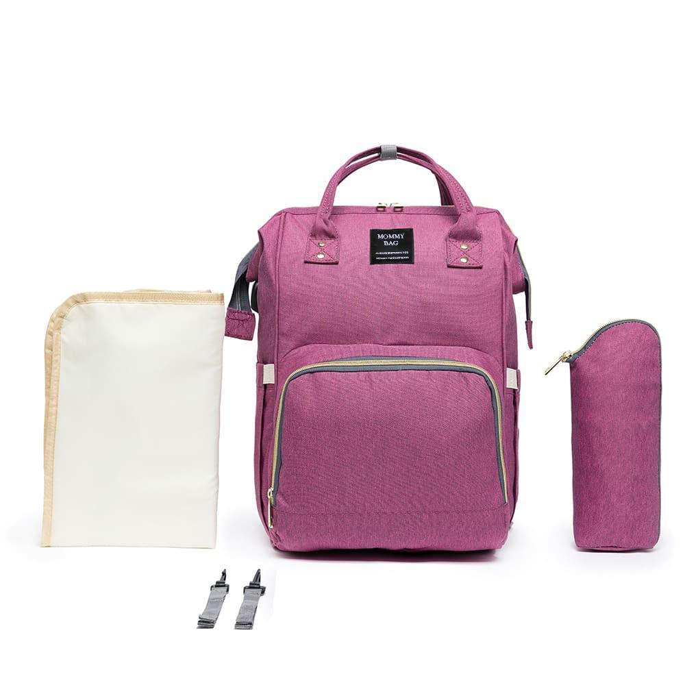 Mochila Bolsa Maternidade Rosa Fúcsia Mommy Bag Original Moda Classic Baby Com USB, Trocador e Porta Mamadeira