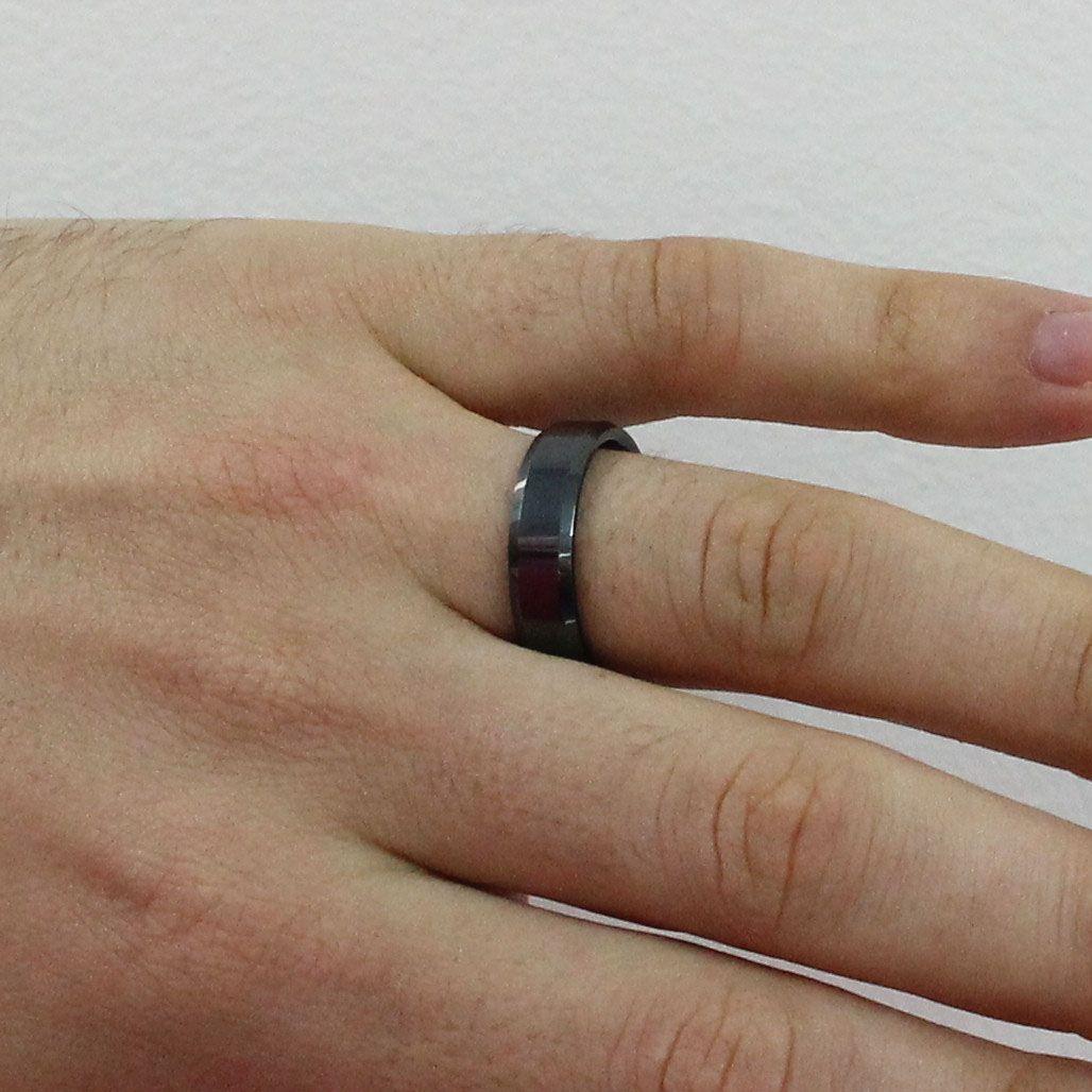 Par de Aliança de Compromisso de Tungstênio Modelo Chanfrada com 6mm Black