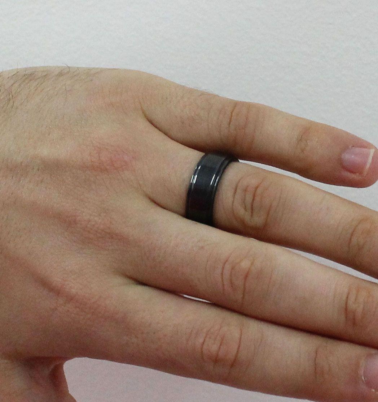 Par de Aliança de Compromisso de Tungstênio Modelo Escovada com 8mm Black