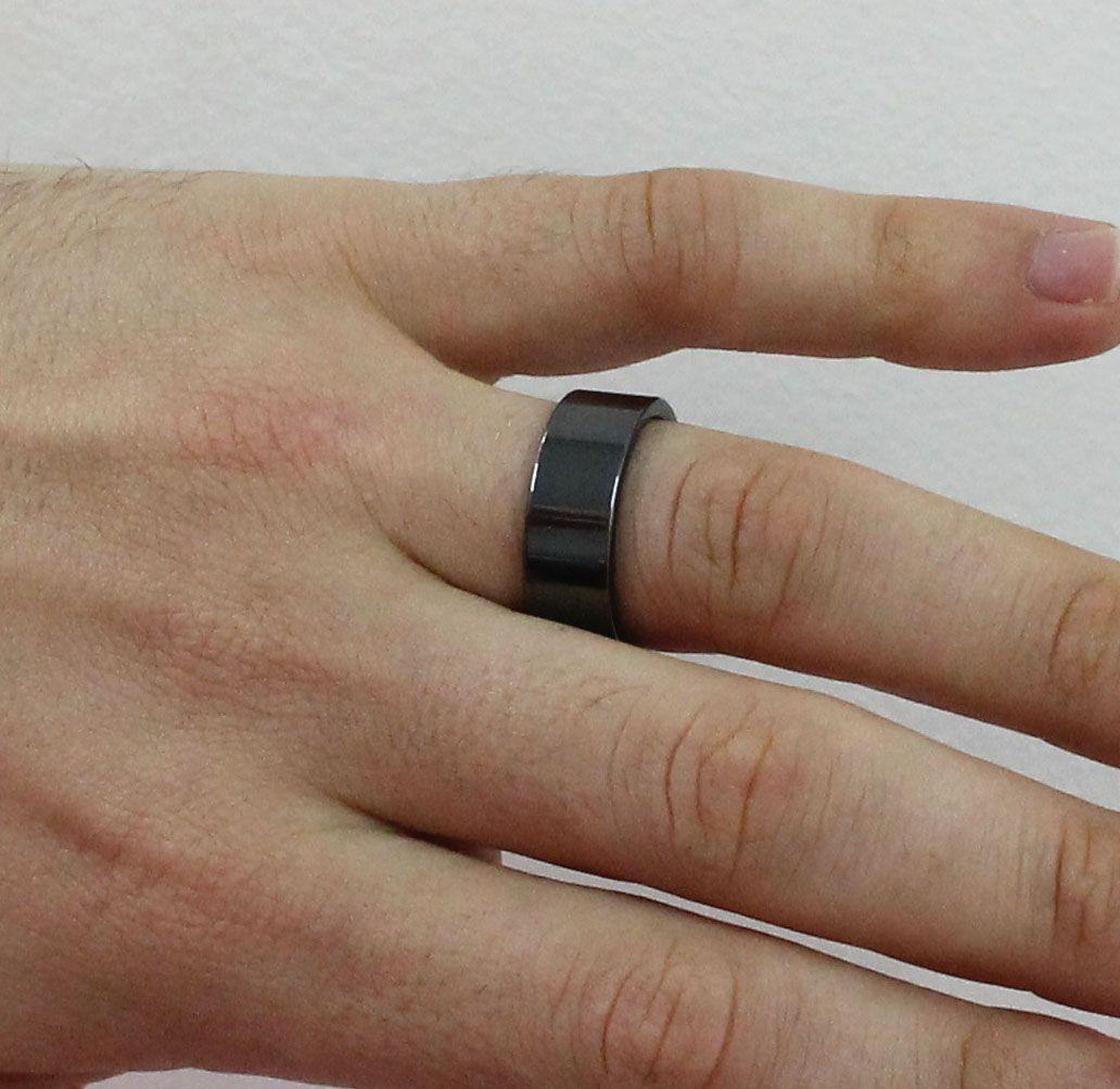 Par de Aliança de Compromisso de Tungstênio Modelo Reta Com 8mm Black