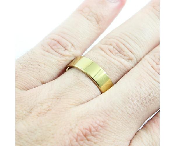 Par de Aliança de Tungstênio com 6mm de Largura Modelo Reta Gold Linha New Tungsten