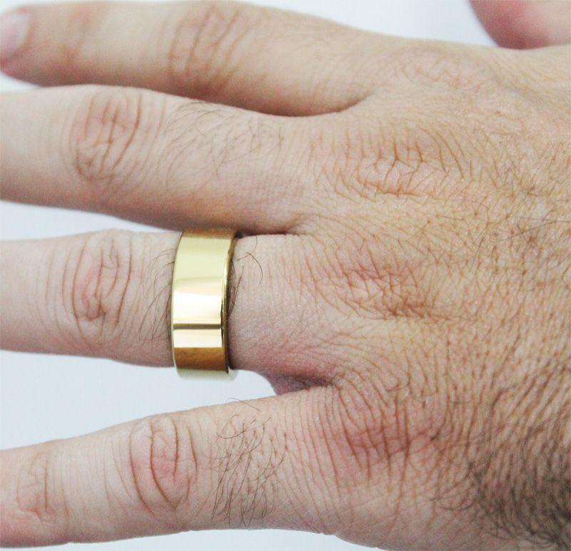 Par de Aliança de Tungstênio com 8mm de Largura Modelo Reta Gold