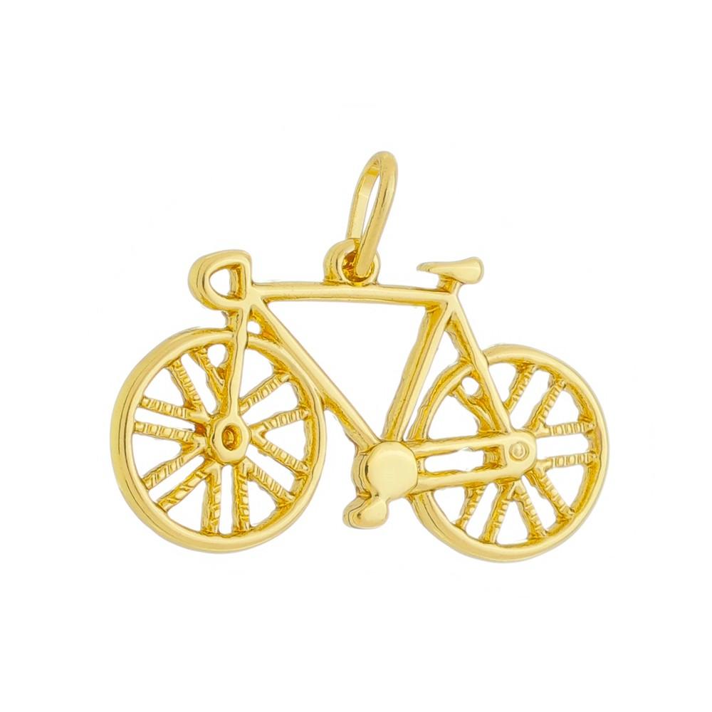 Pingente Bicicleta Bike Folheado a Ouro 18k