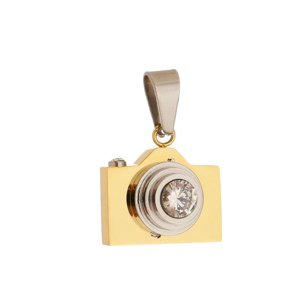 Pingente Câmera de Aço Inox Modelo Dourado