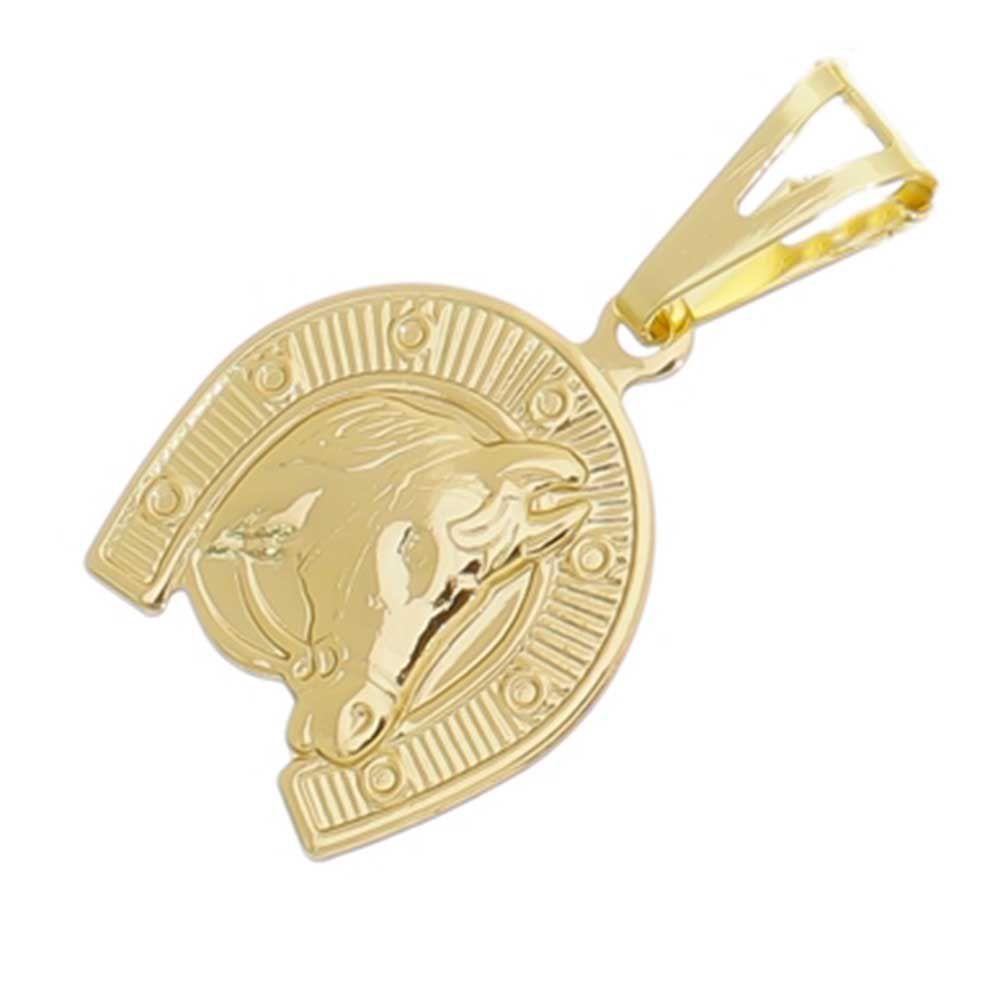 Pingente Cara de Cavalo Folheado a Ouro 18k