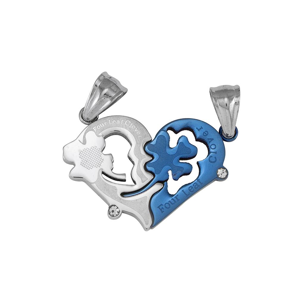 Pingente Cara Metade Coração de Aço Inox Blue