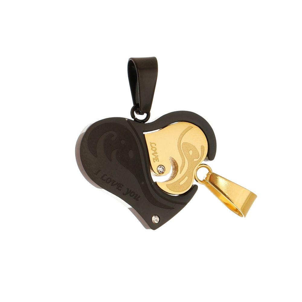 Pingente Cara Metade de Aço Inox Dourado e Preto