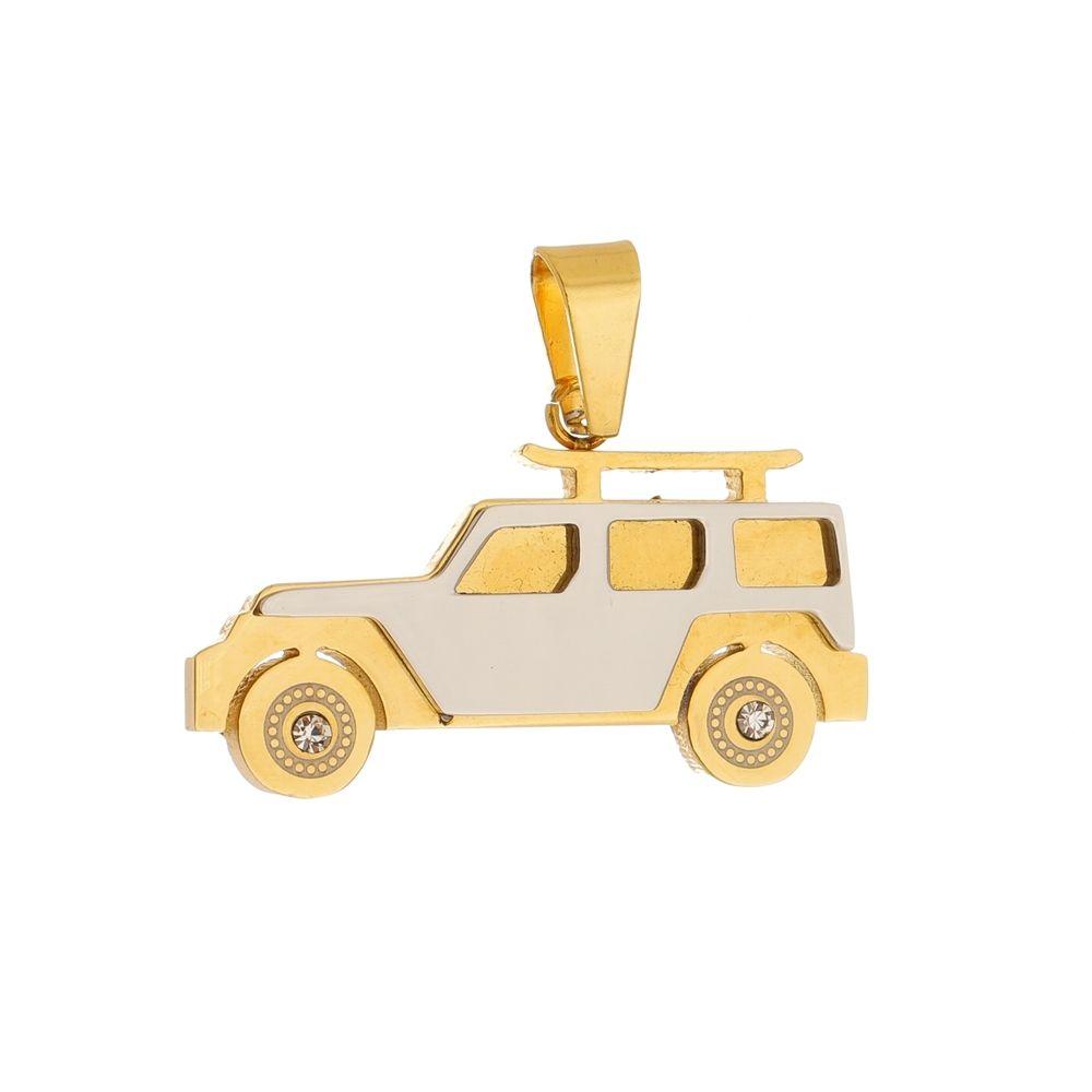 Pingente Carro de Aço Inox Modelo Dourado