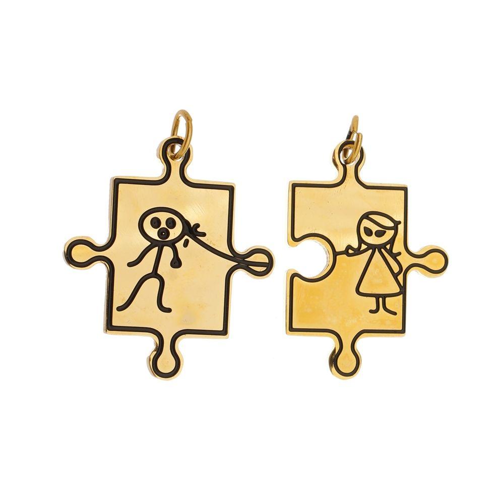 Pingente Casal de Aço Inox Dourado Modelo Dominó