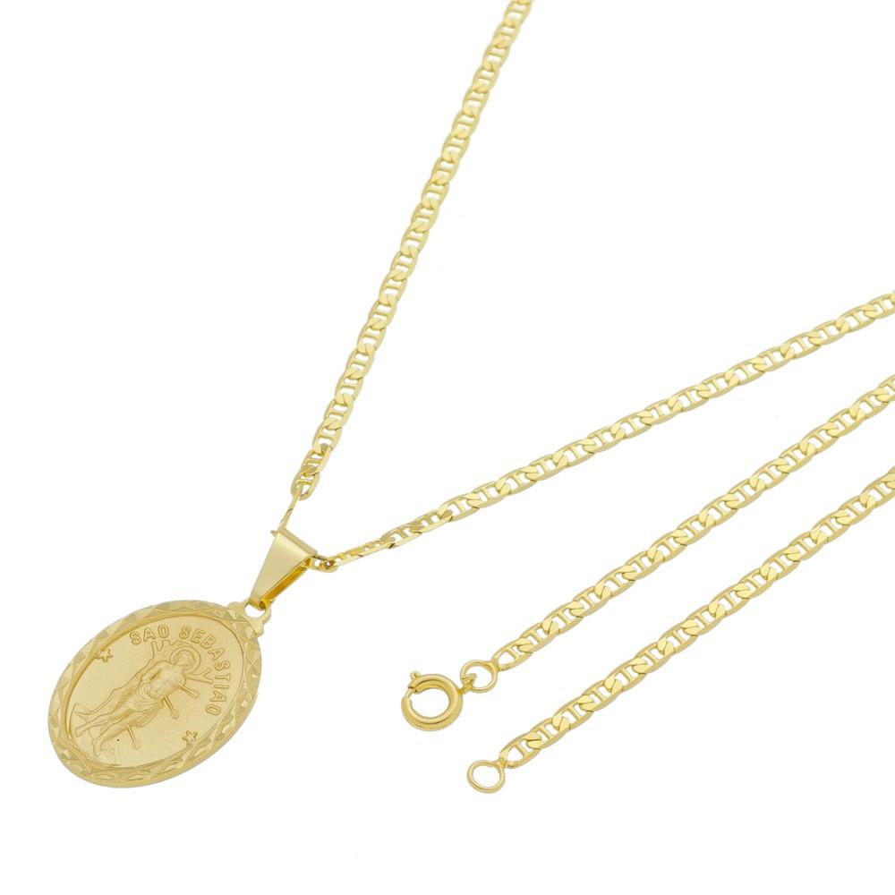 Medalha São Sebastião com Corrente Italiana Folheada a Ouro