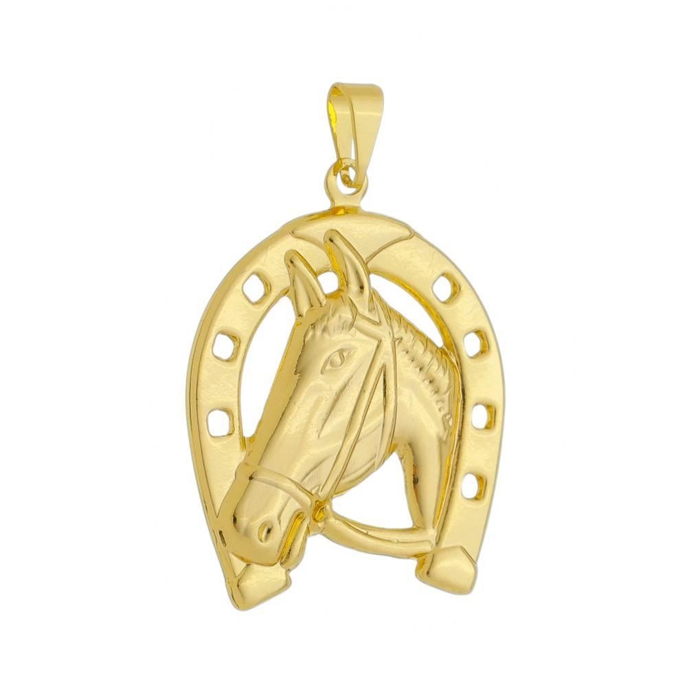 Pingente Cavalo Grande Folheado a Ouro 18k