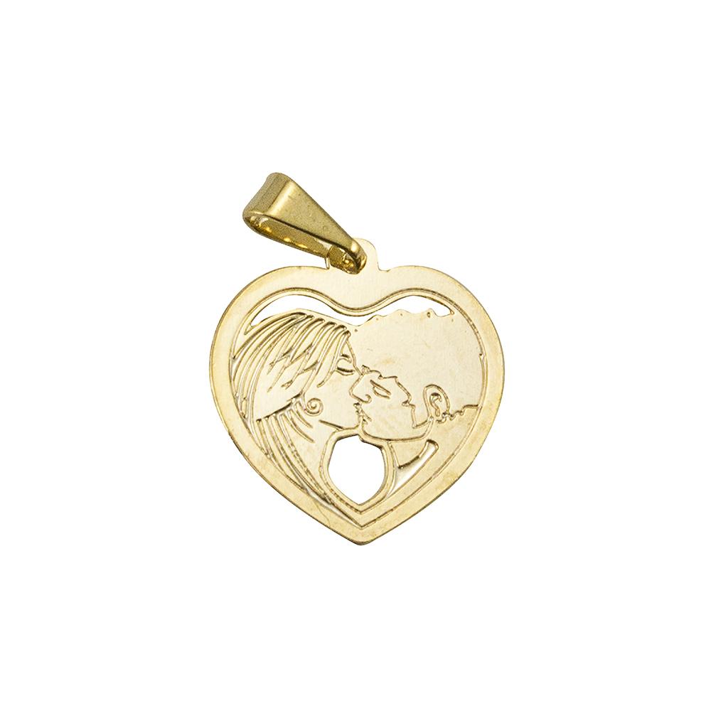 Pingente Coração Com Casal Folheado a Ouro 18k