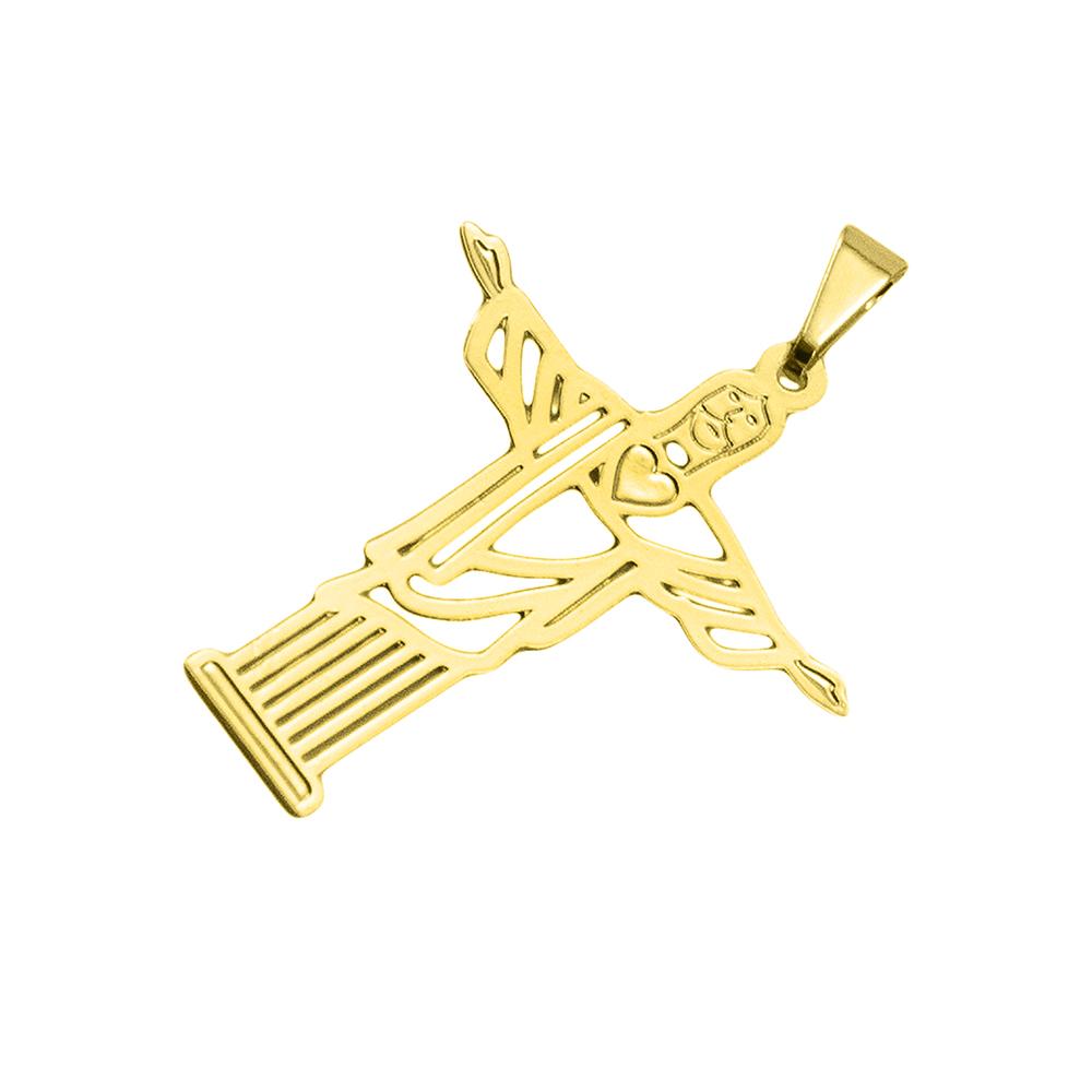 Pingente Cristo Redentor Folheado a Ouro 18k