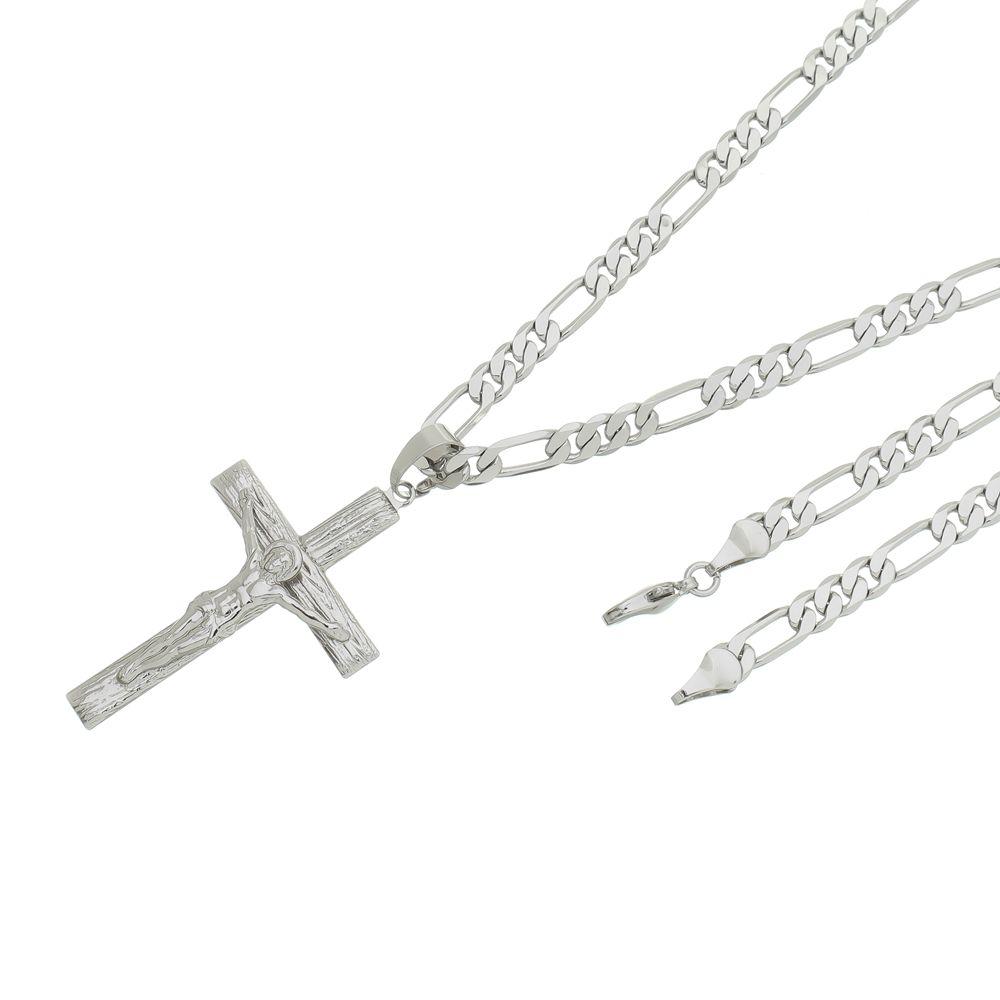 Pingente Crucifixo Com Corrente 6mm x 60cm Folheada a Ródio Prata