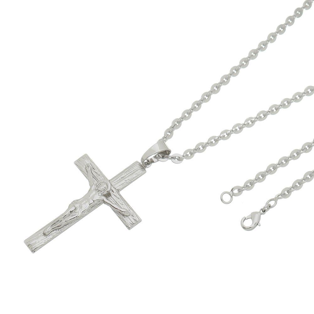 Pingente Crucifixo Com Corrente Cadeado Folheada a Ródio Prata