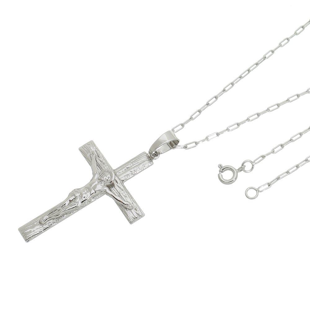 Pingente Crucifixo Com Corrente modelo francesa Folheada a Ródio Prata