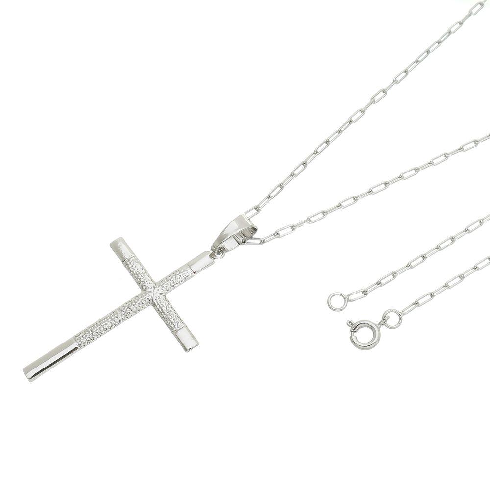 Pingente Crucifixo Com Corrente modelo francesa Folheada a Ródio Branco/Prateado