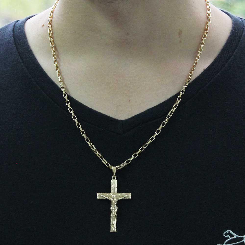 Pingente Crucifixo Com Corrente modelo francesa Gaveta Folheado a Ouro 18k