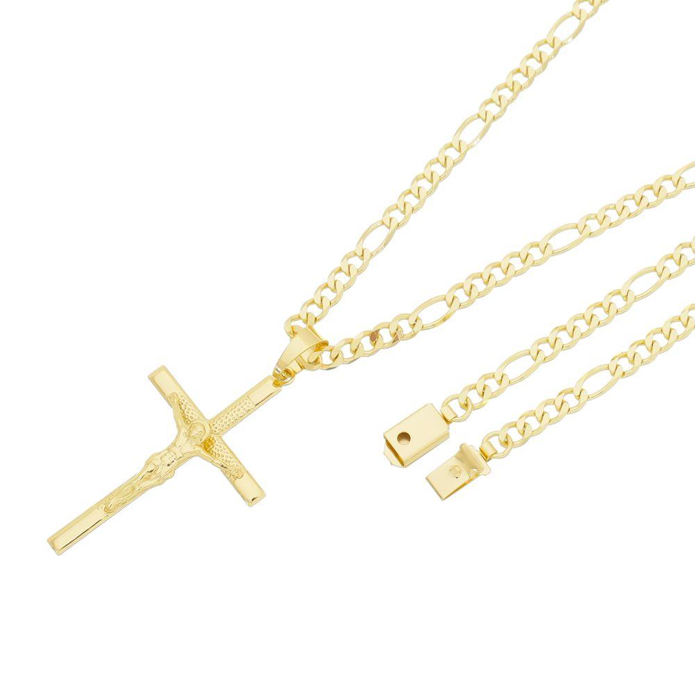 Pingente Crucifixo Com Corrente Italiana Fígaro Gaveta Folheado a Ouro 18k