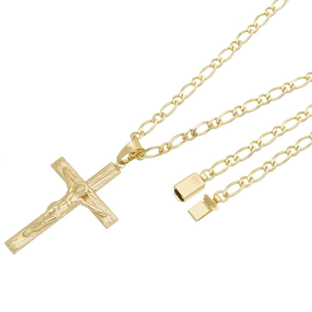 Pingente Crucifixo Com Corrente Italiana Gaveta Folheado a Ouro 18k