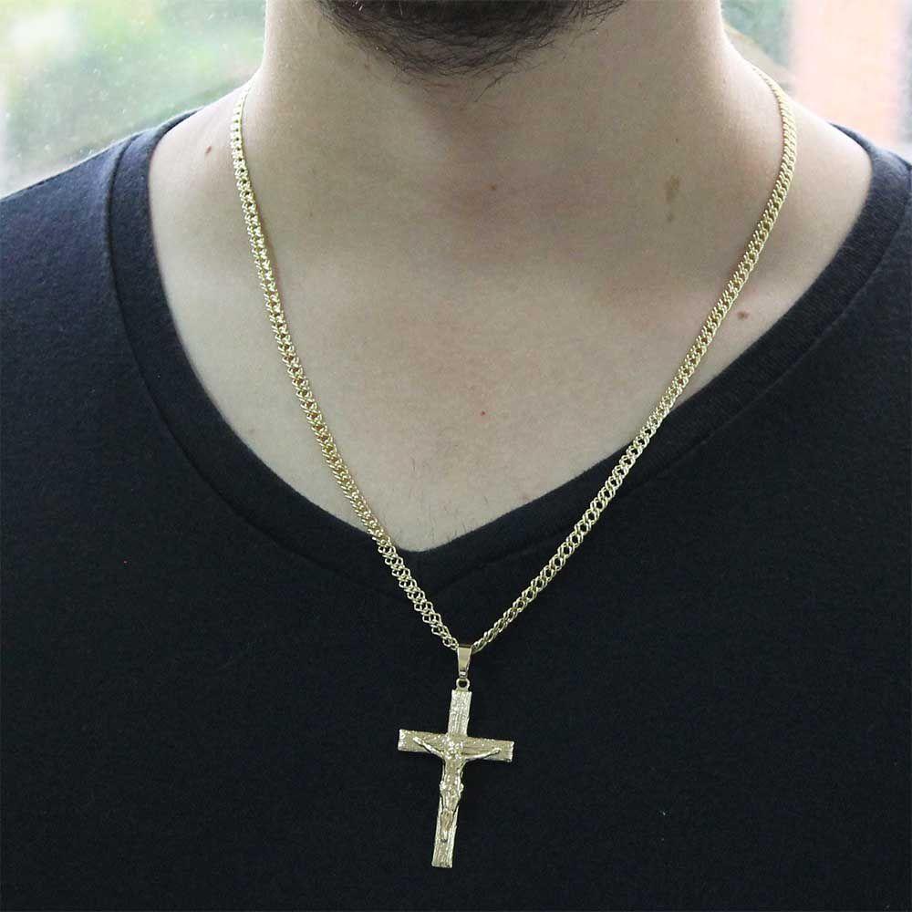 Pingente Crucifixo Com Corrente Losango Dupla Gaveta Folheado a Ouro 18k