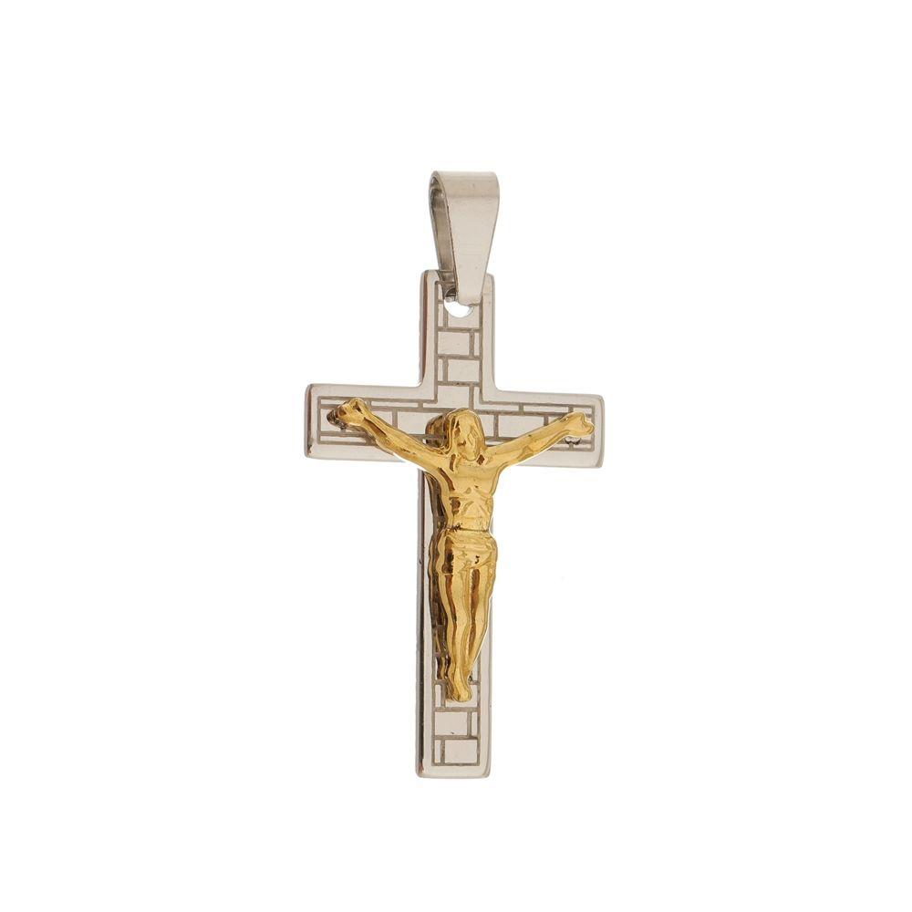 Pingente Crucifixo de Aço Inox Gold