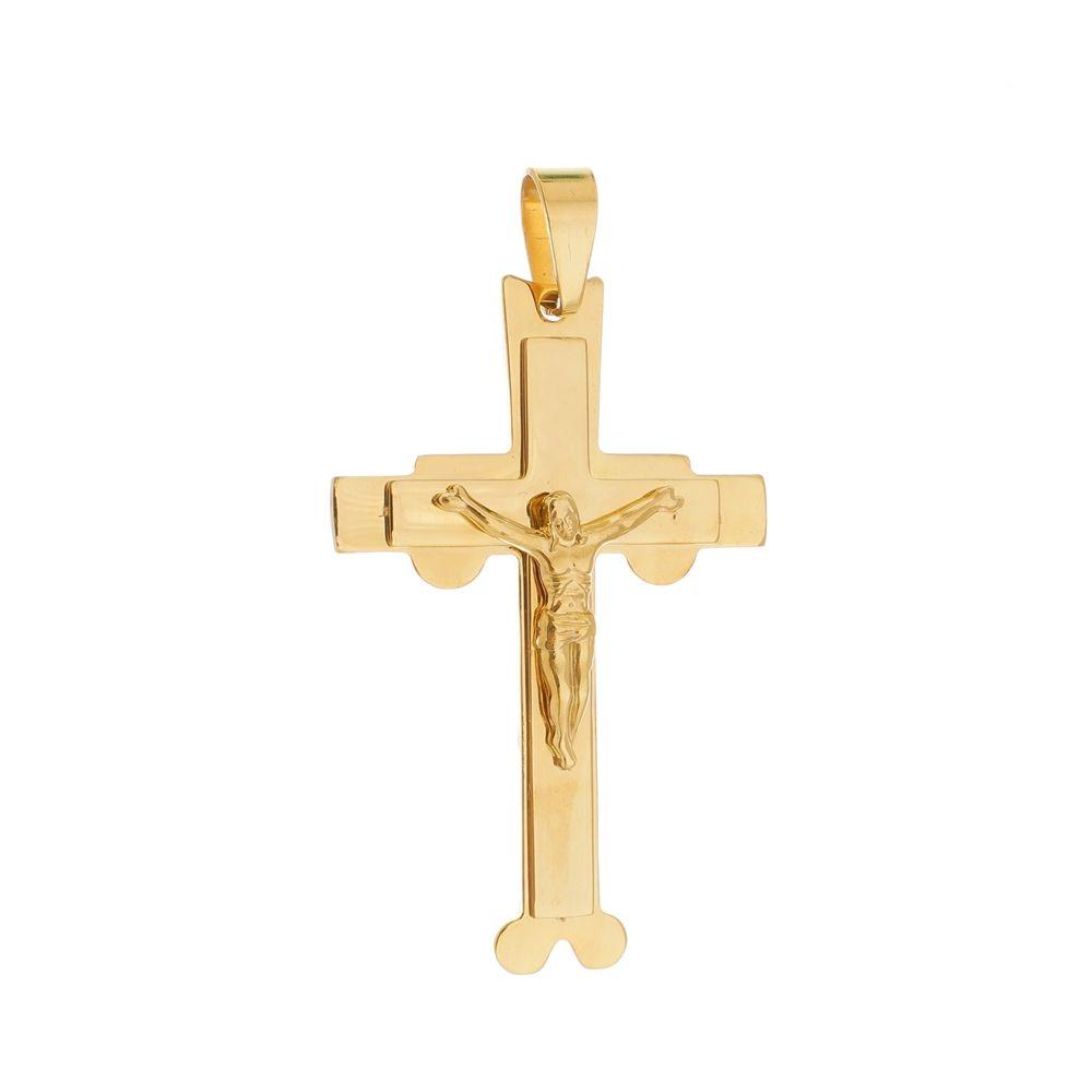 Pingente Crucifixo Grande de Aço Inox Dourado