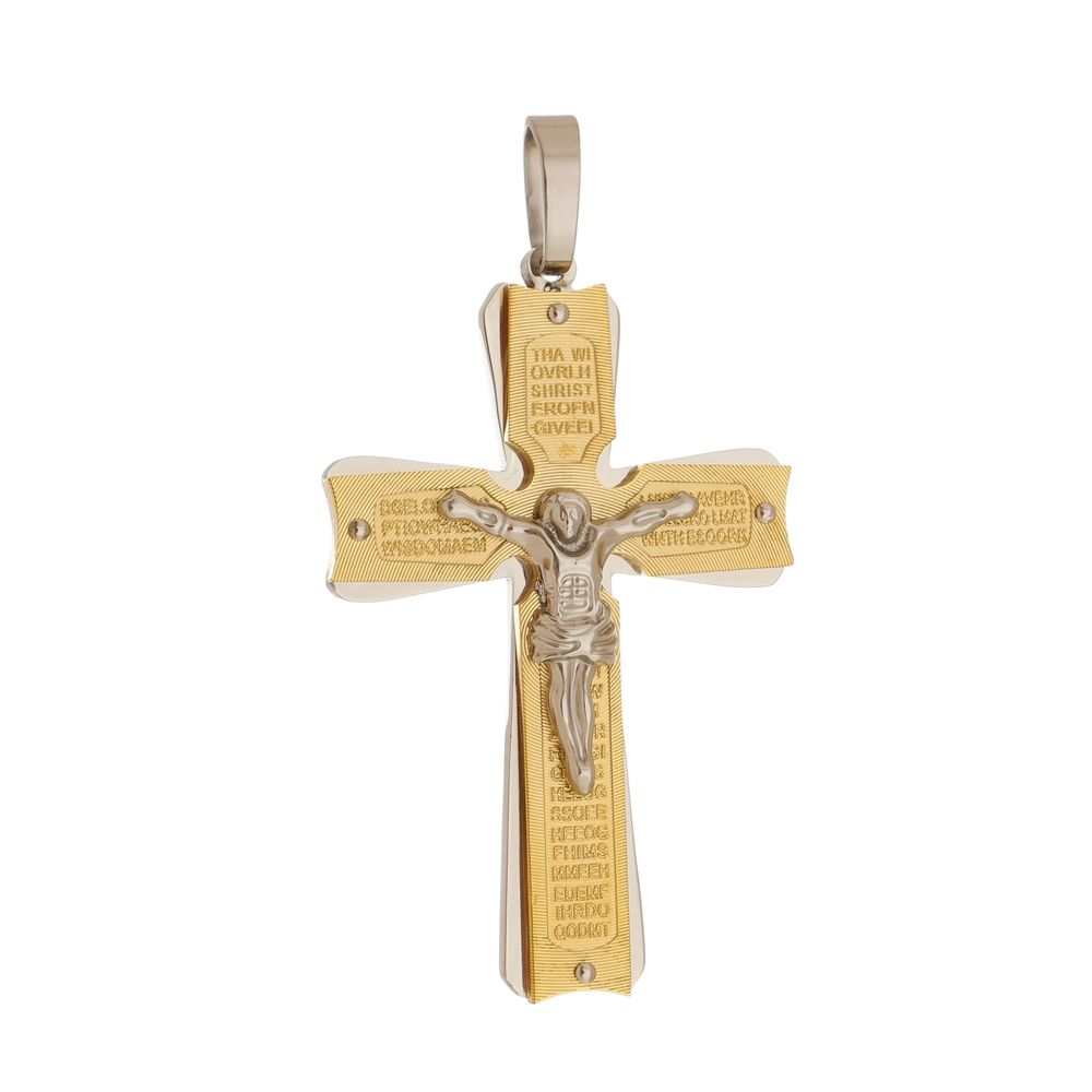 Pingente Crucifixo Grande Dourado de Aço Inox