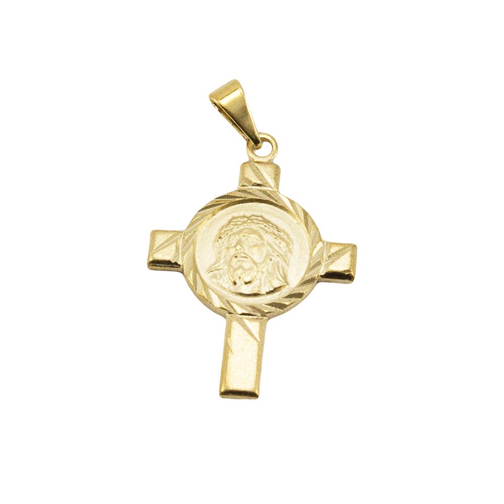 Pingente Cruz com Face de Cristo Folheada a Ouro 18k