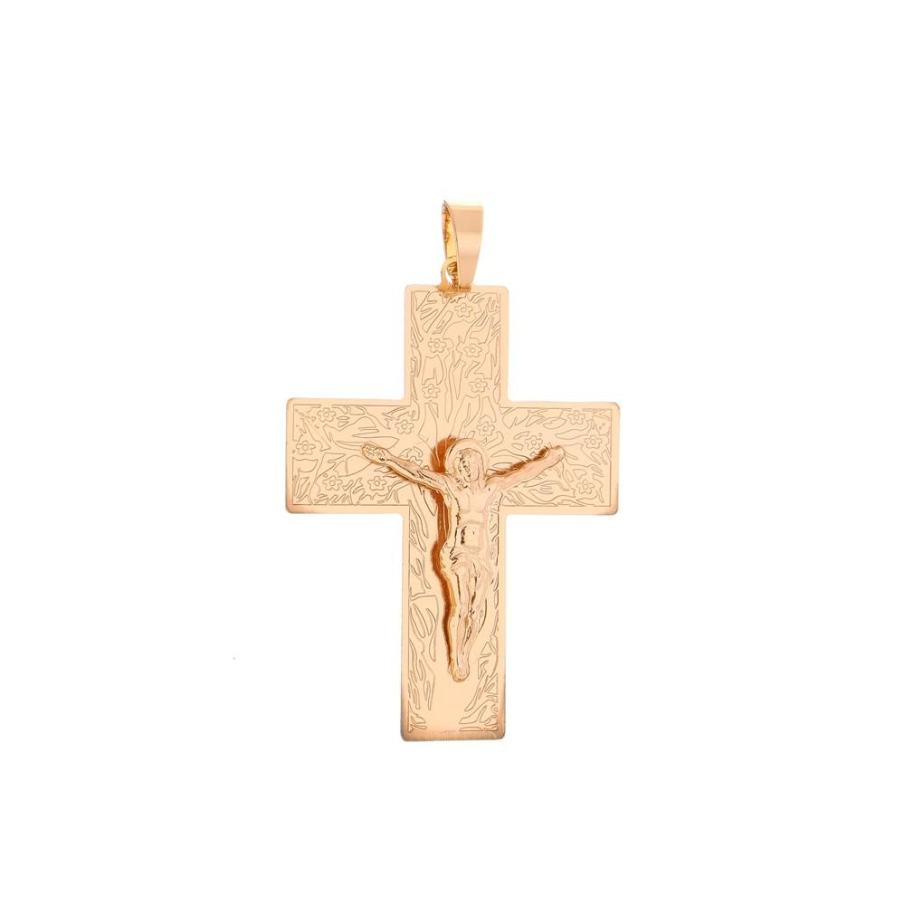 Pingente Cruz Com Jesus + Corrente Grumet 5mm Folheada a Ouro Rosê