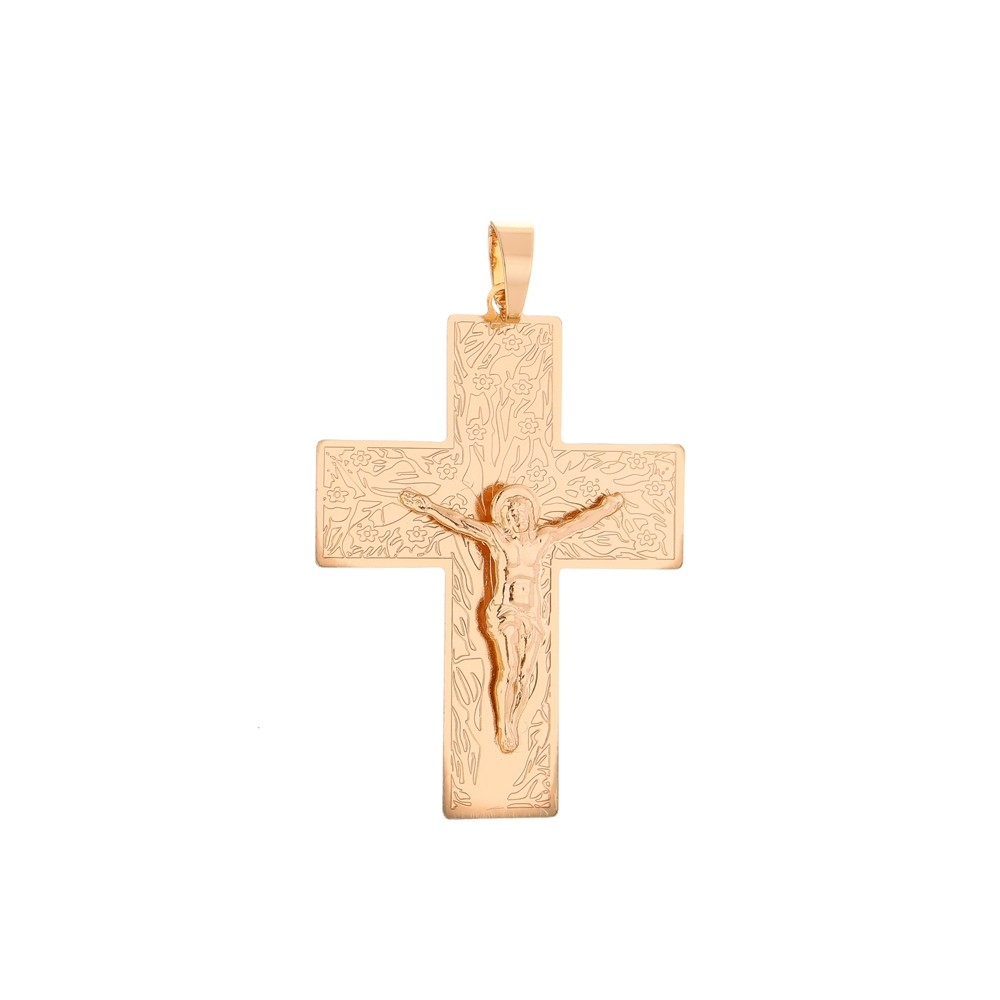 Pingente Cruz Com Jesus +  Corrente Veneziana Folheada a Ouro Rosê